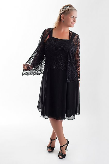 Krásné černé šaty Timeless s krajkovým bolérkem 6