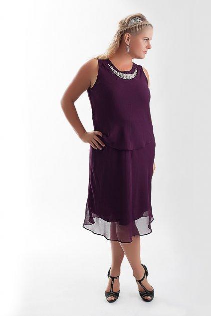 Krásné fialové šaty Nina Plum zdobené perličkami s kabátkem 7