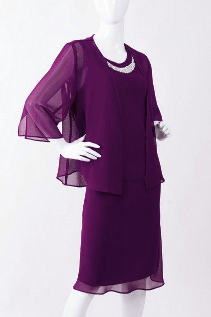 Krásné fialové šaty Nina Plum zdobené perličkami s kabátkem 1