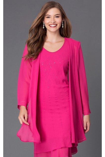 Krásné společenské šaty Lady Emilly s kabátkem růžové 2