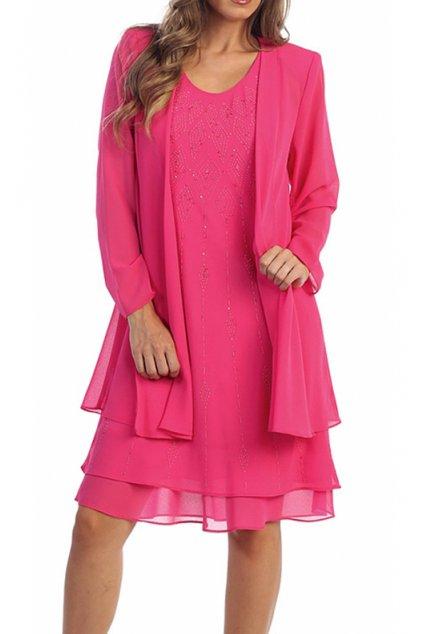 Krásné společenské šaty Lady Emilly s kabátkem růžové 1