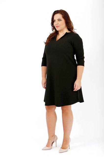 Jednoduché hladké šaty Keyhole černé 2