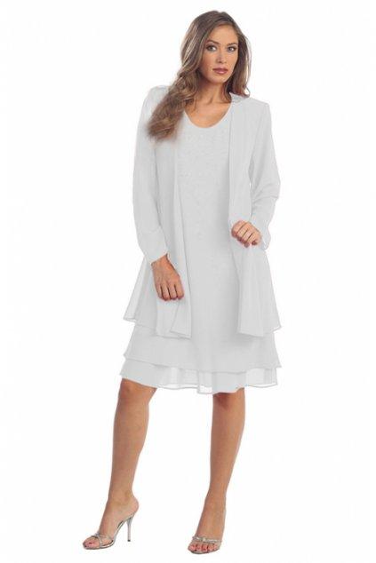 Krásné společenské šaty Lady Emilly s kabátkem bílé 2