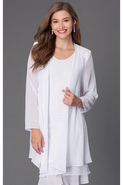 Krásné společenské šaty Lady Emilly s kabátkem bílé 3