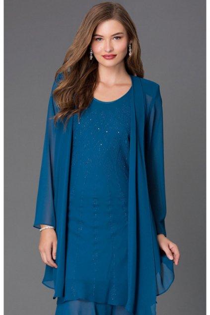 Krásné společenské šaty Lady Emilly s kabátkem modré 1