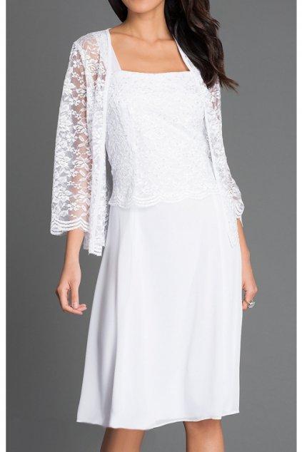 Krásné bílé šaty Timeless s krajkovým bolérkem 1