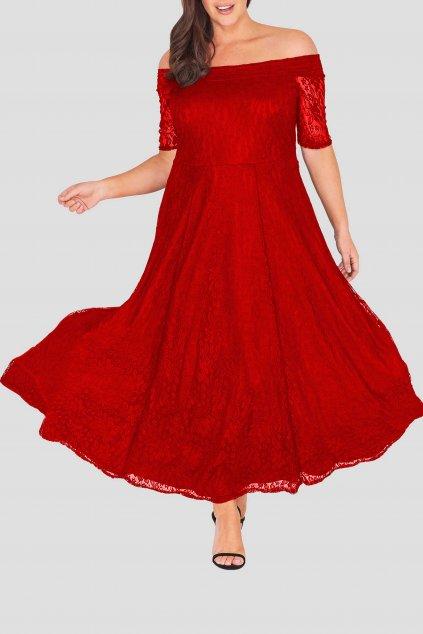 Dlouhé krajkové šaty Marble s krátkým rukávem červené 1