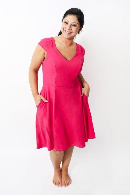 Krásné šaty Mademoiselle s rozšířenou sukní a kapsami růžové