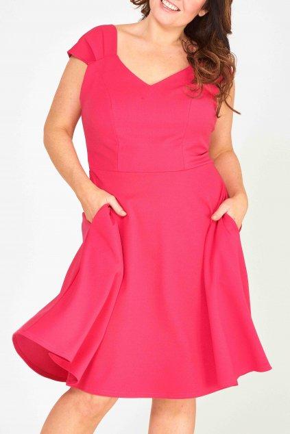 Krásné šaty Mademoiselle s rozšířenou sukní a kapsami růžové 1