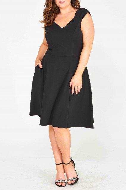 Krásné šaty Mademoiselle s rozšířenou sukní a kapsami černé 2