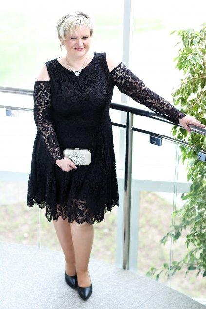 Krajkové šaty Pearl s odhalenými rameny černé 5
