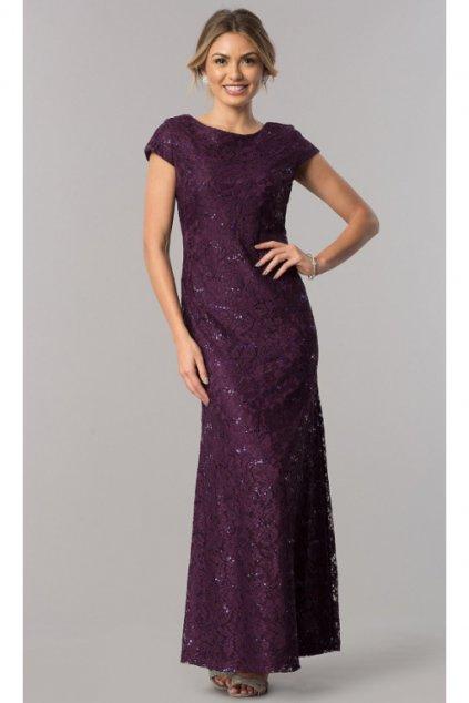 Dlouhé celokrajkové šaty Elisa fialové 1
