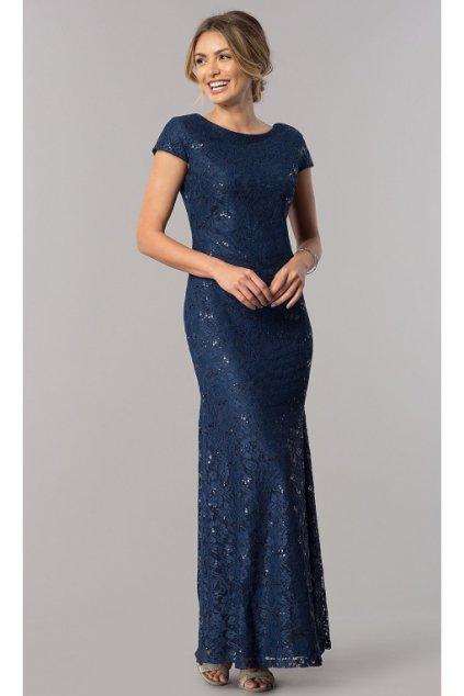 Dlouhé celokrajkové šaty Elisa modré 1