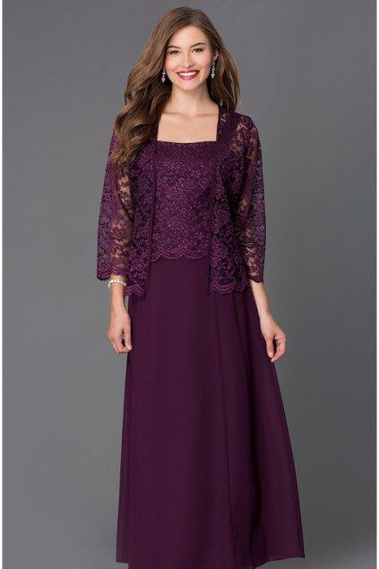 Dlouhé fialové šaty Timeless s krajkovým bolérkem 1
