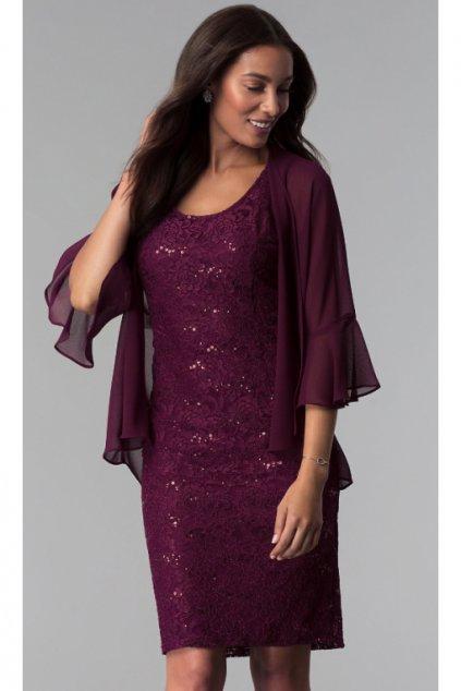 Fialové společenské šaty Eva s šifonovým kabátkem 1