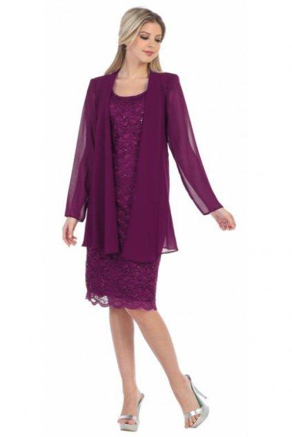 Krajkové šaty Samir se šifonovým kabátkem fialové 1