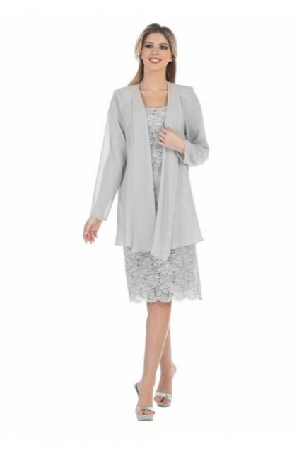 Krajkové šaty Samir se šifonovým kabátkem stříbrné 1