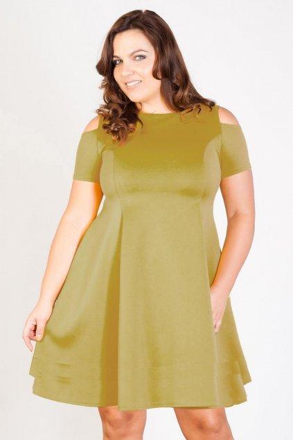 Krásné šaty Camel s prostřihy olivové