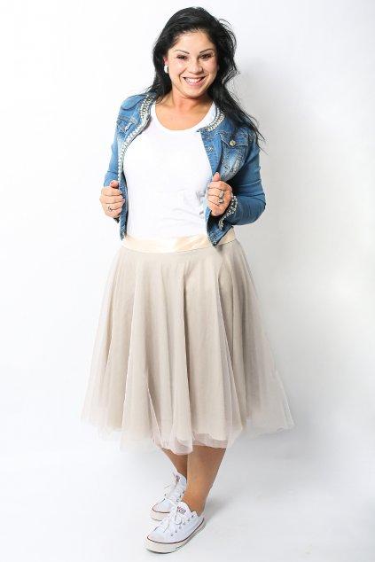 Tylová sukně Abagail Bellazu pudrová 3