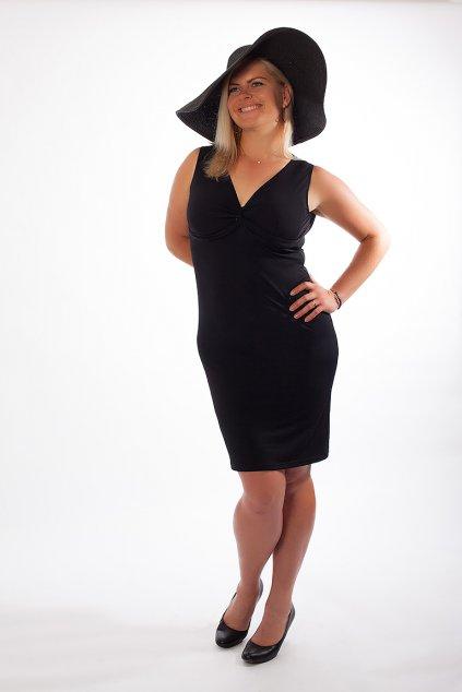 Klasické šaty Alexa Bellazu s hlubokým výstřihem bez rukávů černé 5