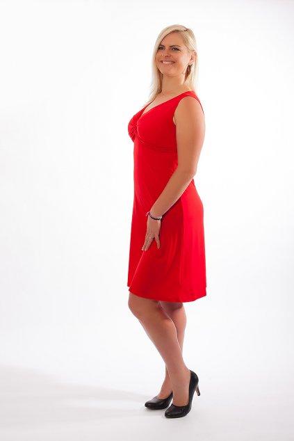 Klasické šaty Alexa Bellazu s hlubokým výstřihem bez rukávů červené 2