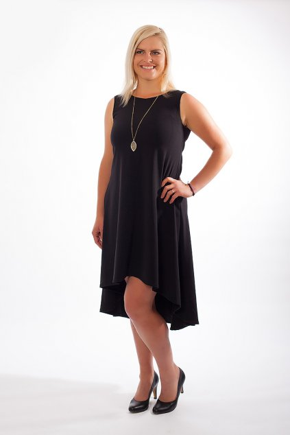 Luxusní asymetrické šaty Shannon Bellazu černé 6