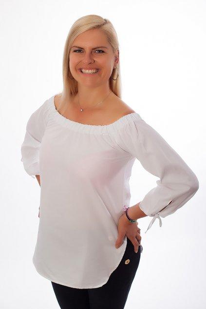 Košilová plátěná halenka Jess Bellazu s uzly bílá 3