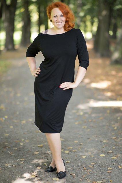 Šaty Ryan Bellazu s měděným ramínkem černé 16