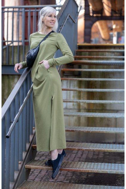 Dámské maxi šaty oliva 1
