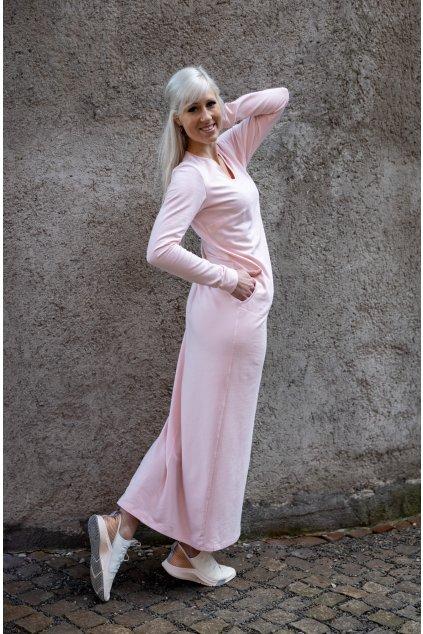 Maxi šaty pudrové 2