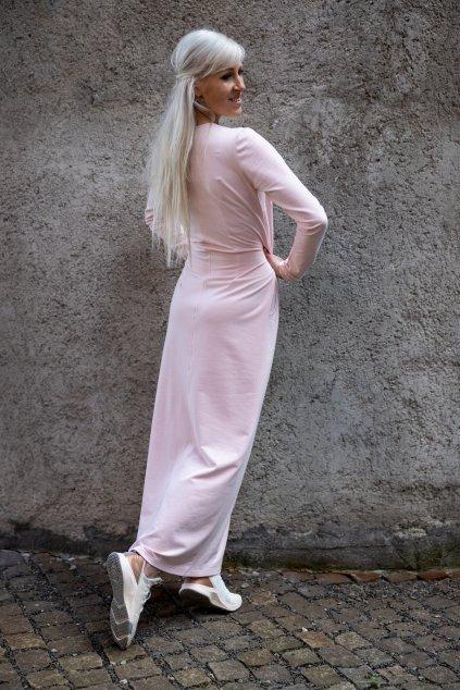 Dámské maxi šaty pudrové 1