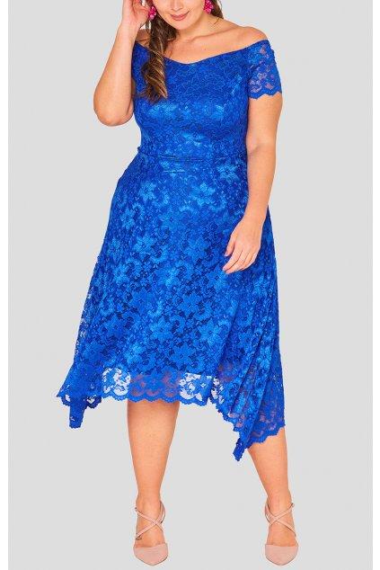 Krajkové šaty Rain s asymetrickou sukní modré 5