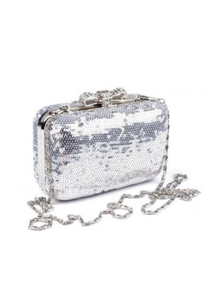 Společenská kabelka s flitry stříbrná