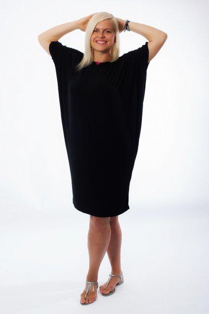 Volné šaty Kiss s netopýřími rukávy černé 1