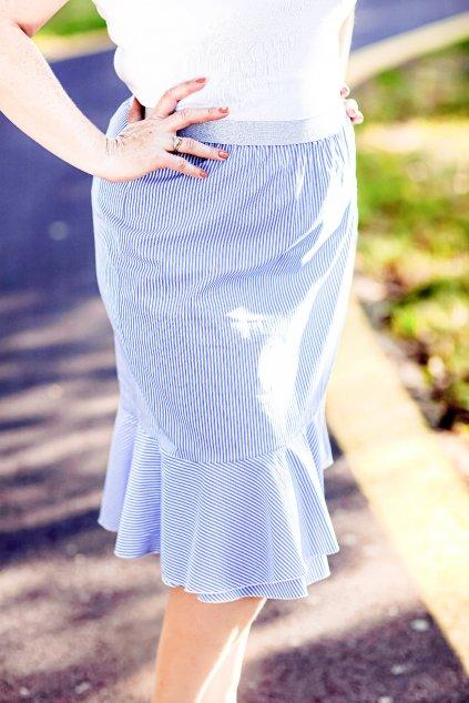 Světle modrá sukně Anna Bellazu s jemným proužkem 3
