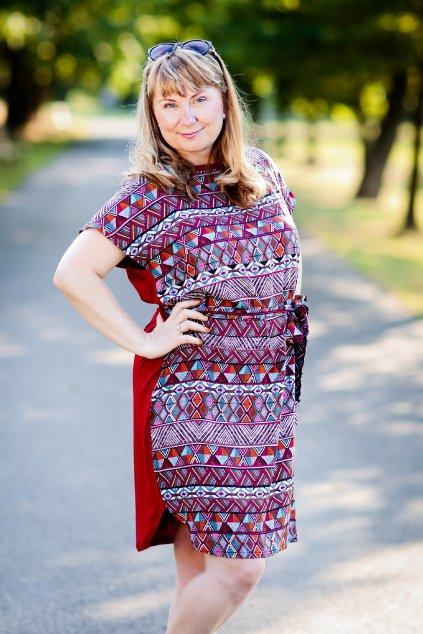 Červené šaty Abi Bellazu s páskem 4