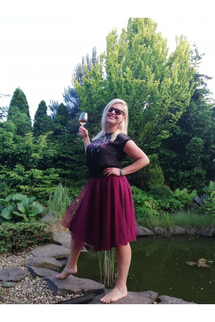 Tylová sukně Abagail Bellazu vínová 6