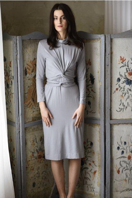 Zavinovací šedé rolákové šaty MIK s dlouhým rukávem 1