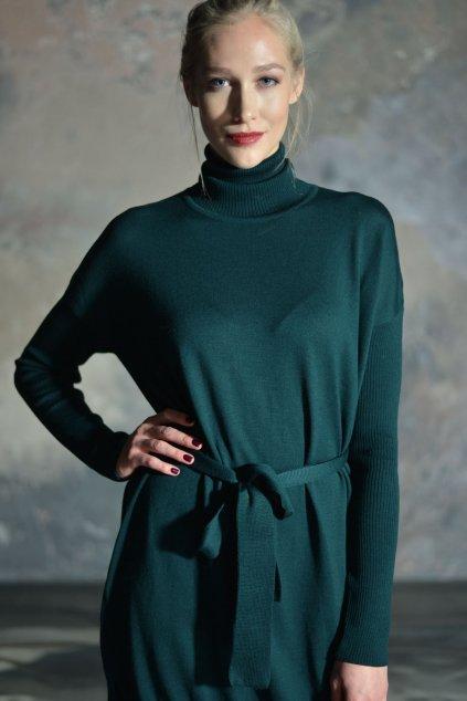 Merino rolákové šaty MIK s dlouhým rukávem zelené 1
