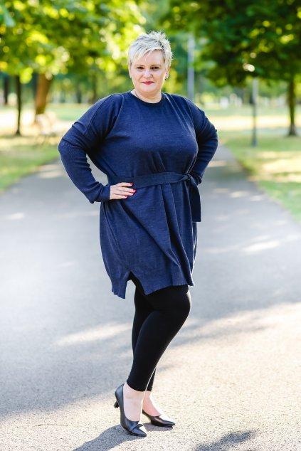 Merino šaty MIK s dlouhým rukávem tmavě modré 3