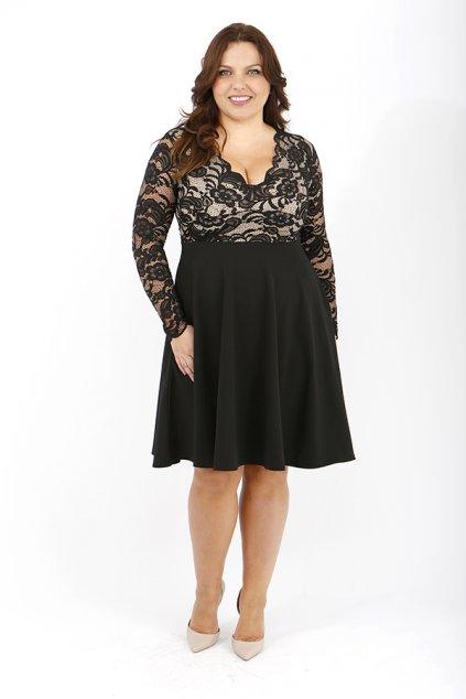 Krajkové šaty Crush s hladkou sukní černé 2