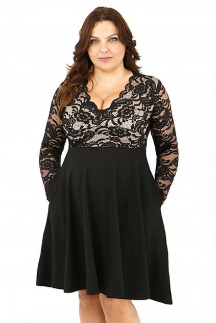 Krajkové šaty Crush s hladkou sukní černé 1