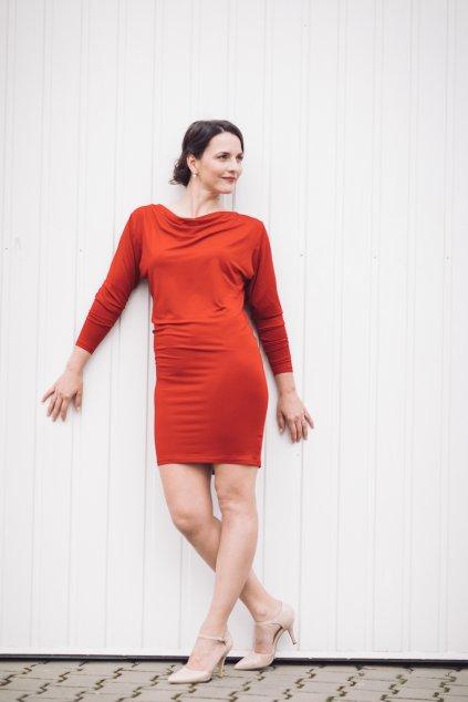 Šaty z bambusu Rosmarina s dlouhým rukávem červené 1