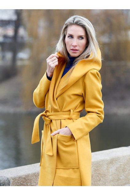 Dámský flaušový kabát hořčičný