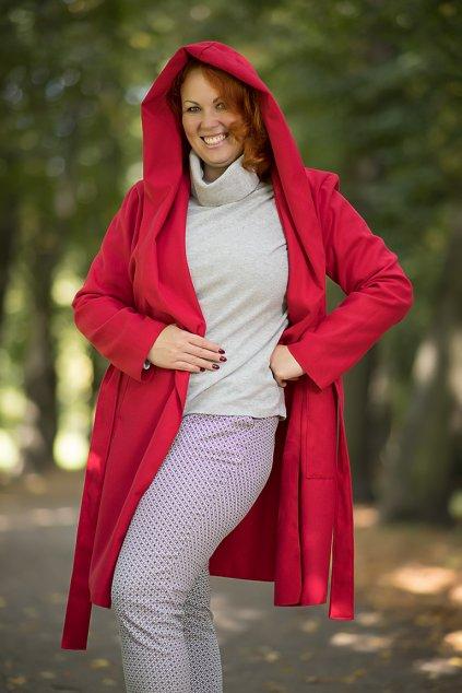 Dámský flaušový kabát červený 10