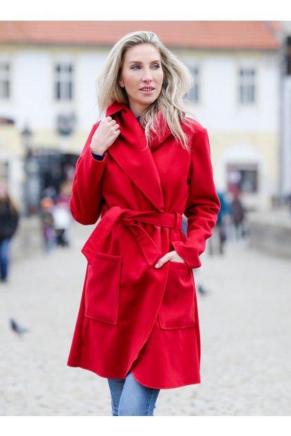 Dámský flaušový kabát červený