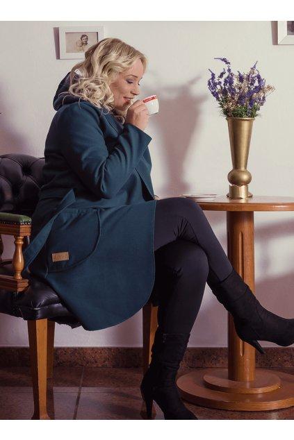 Dámský flaušový kabát modrozelený