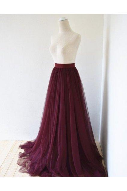 Dlouhá tylová sukně Abagail Bellazu vínová