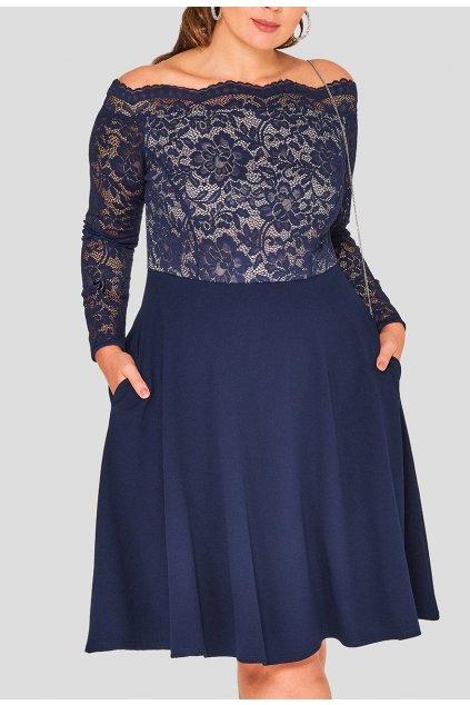 Dámské krajkové šaty Kilby s kapsami tmavě modré 2