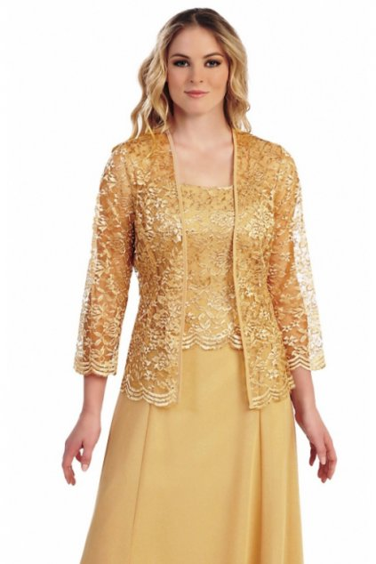 Krásné zlaté šaty Timeless s krajkovým bolérkem